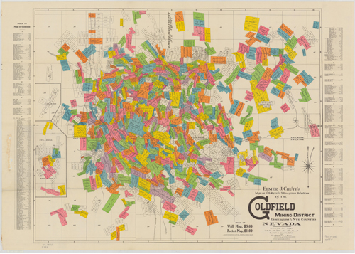Elmer J. Chute's map of the Goldfield Mining District from the Mary B. Ansari Map Library at the University of Nevada, Reno.
