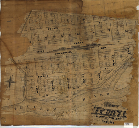 Reno (1868) from the Mary B. Ansari Map Library at the University of Nevada, Reno courtesy of the Nevada Historical Society.