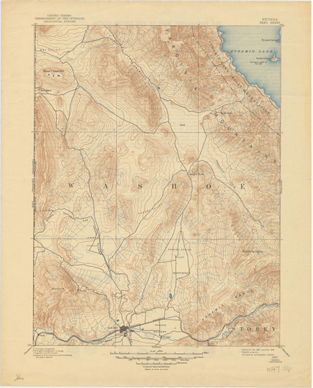 United States Department of the Interior Geological Survey for Reno, NV (made in 1893, reprinted in 1945) from the Mary B. Ansari Map Library at the University of Nevada, Reno.